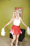 Chesty young blonde cheerleader Prudence Pond flashing upskirt panties