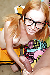 Filthy teen cheerleader in glasses gives a handjob and gets facialized