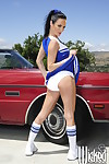 Cheerleader Alektra Blue shows her ass upskirt and spreads her legs