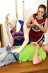 Naughty blonde cheerleader with pigtails gives a deepthroat blowjob