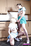 Cute coed cheerleaders Jessica Jensen and Tina Kay licking bald slits