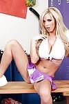 Cheerleader Nikki Benz takes off her skirt to switch to hot underwear