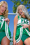Cheerleader girlfriends show off their hot bodies and put on uniform
