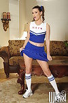 Victoria Lawson with big tits in cheerleader\'s uniform shows her slit