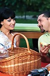 Clammy brunette aletta ocean sucking and astonishingly at picnic