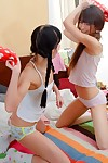 Smooth on top young girls ingrid and lucy dildoing their fixed apple bottoms