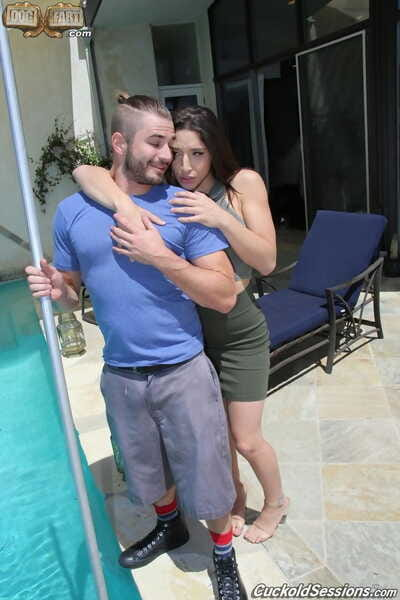 Abella Danger sucks dual ebony weenies and bangs  although her lover watches